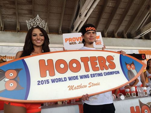 "Matt ""Megatoad"" Stonie Tastes Victory with Wing Eating Record, Defeats Joey ""Jaws"" Chestnut at Hooters Worldwide Wing Eating Championship"