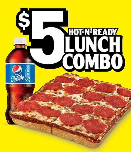 For a limited time, Little Caesars cuts a buck off the price tag of their $5 Lunch Combo to make it the $4 Lunch Combo. Available at participating locations, $4 will get you half a Deep! Deep! Dish Pizza (4 slices) and a ounce bottled Pepsi beverage.