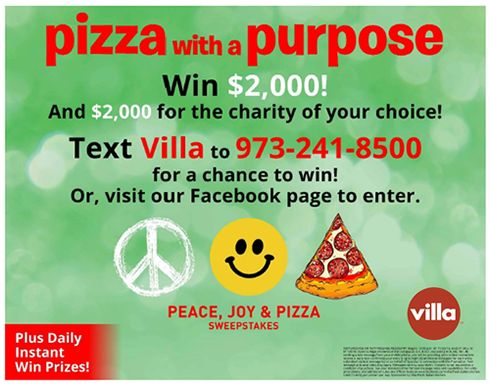 Villa Italian Kitchen Hosts 'Pizza With Purpose' Campaign to Give Back - Peace, Joy & Pizza Sweepstakes Starts Today