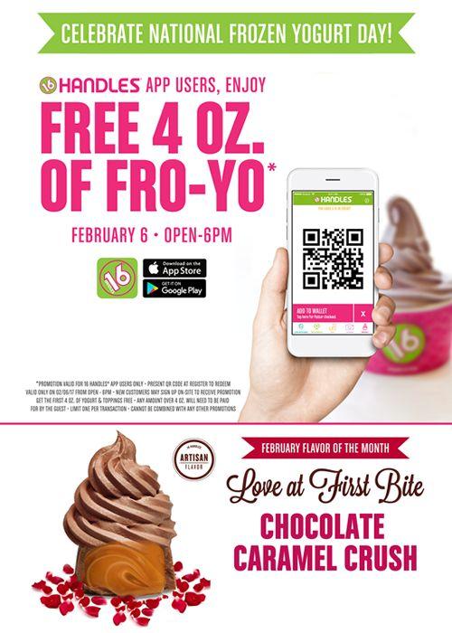 16 Handles Celebrates National Frozen Yogurt Day with FREE FRO-YO!