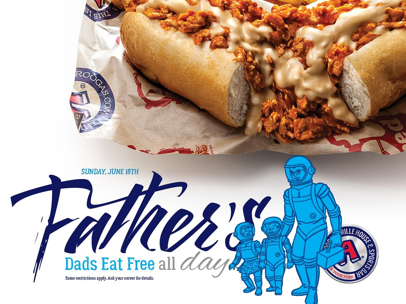 Dads eat for free on Father's Day. Choose from the 15 layer lasagna or the spaghetti and meatballs, and the meal is complimentary. It's as simple as that, no coupon required. Also, enter their.