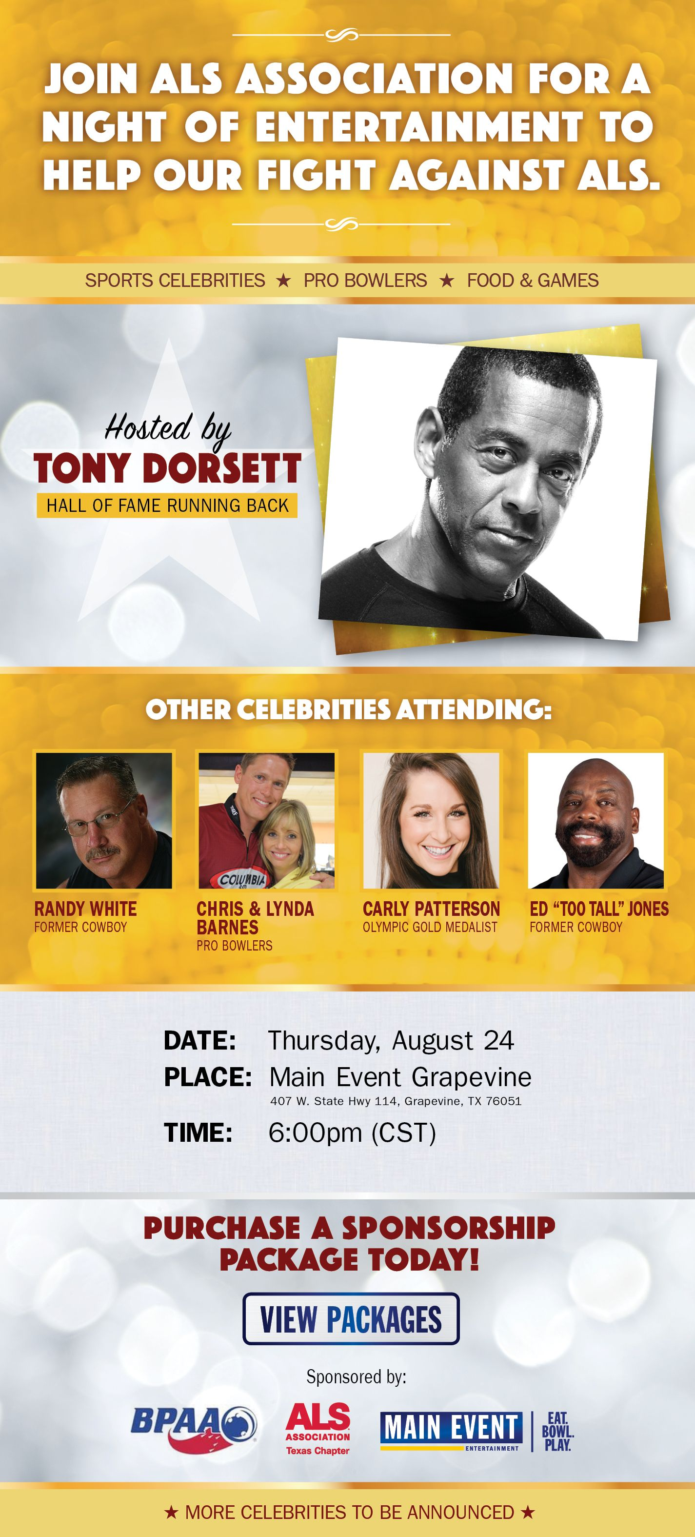 Tony Dorsett To Headline ALS Celebrity Bowling Classic At Main Event Grapevine