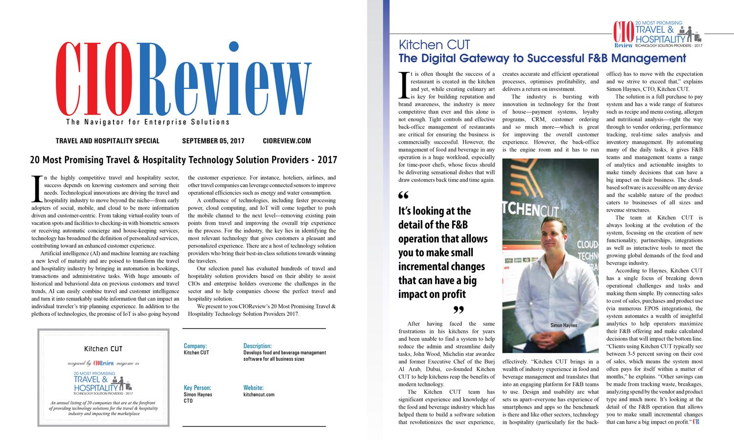 Kitchen CUT in CIOReview's Top 20!
