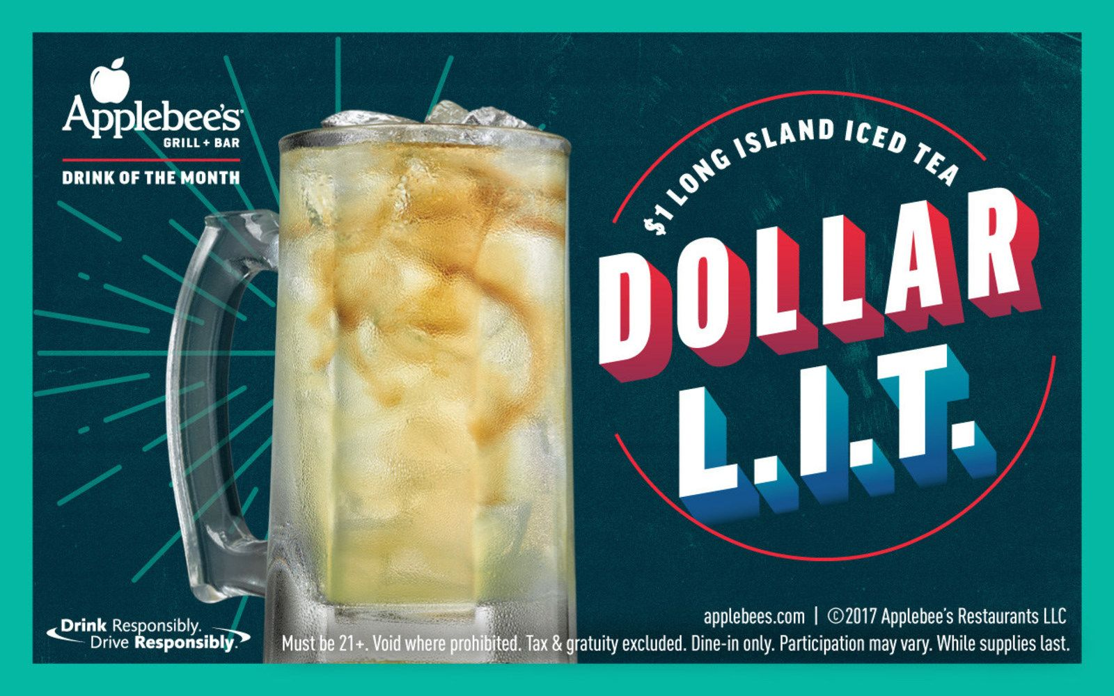 Applebee's offering $1 Long Island Iced Tea for the month of December