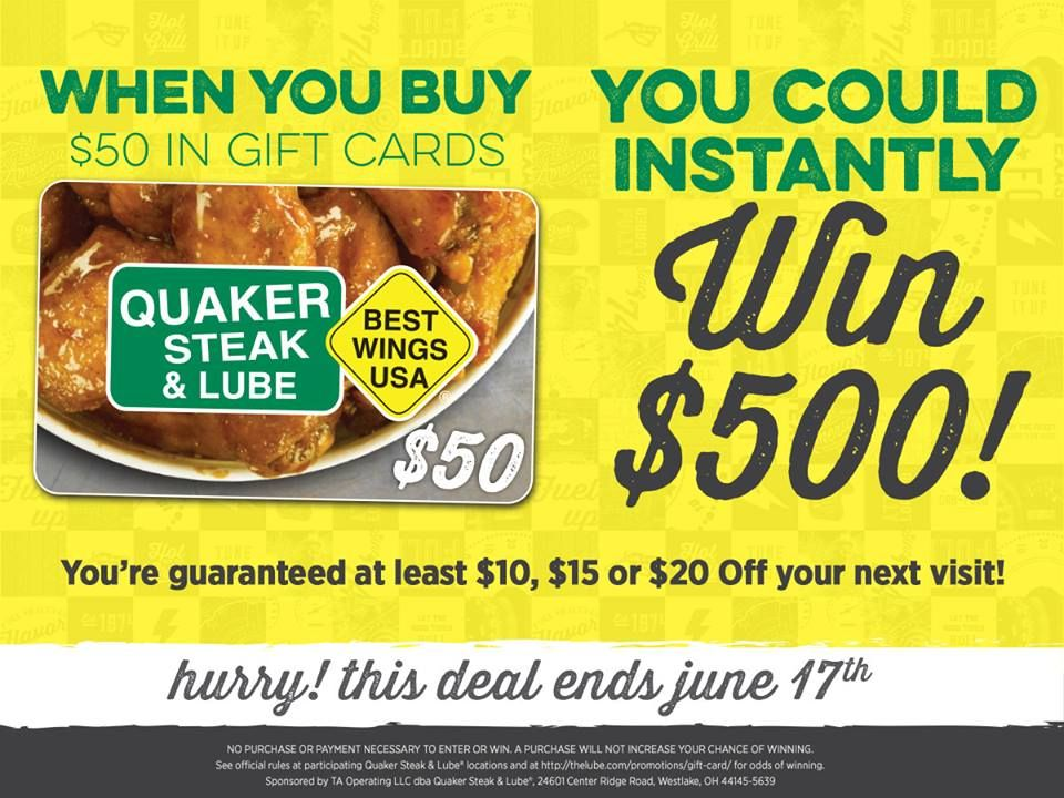 Quaker Steak & Lube Spring Gift Card Program Rewards Guests with Instant Scratch-and-Win Bonuses Totaling More Than $25,000
