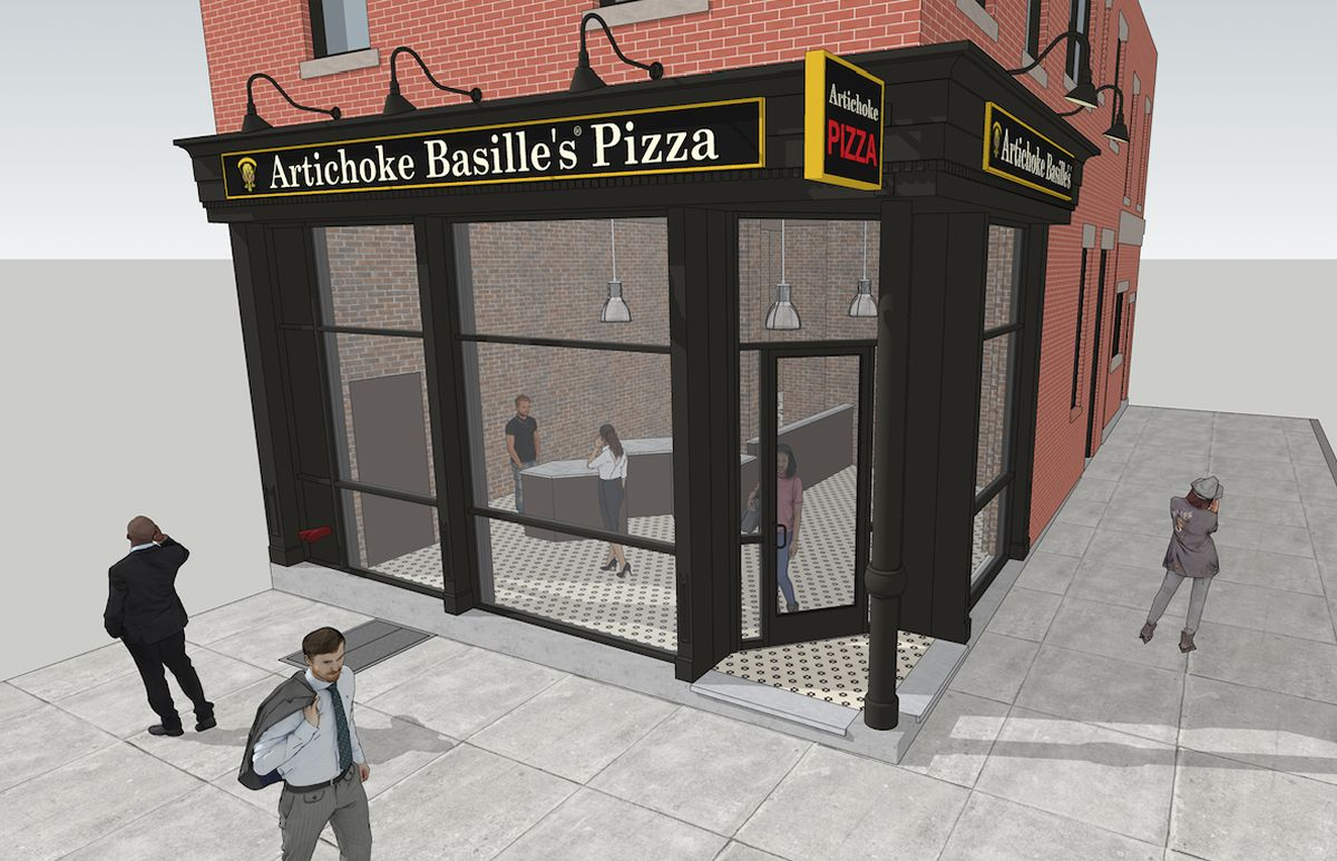 Famed NYC pizzeria, Artichoke Basille's Pizza, is expanding across the Hudson River into Hoboken, New Jersey. They have announced their first New Jersey location will open at 96 Hudson Street in early 2019. Image Credit: Nastasi Architects.