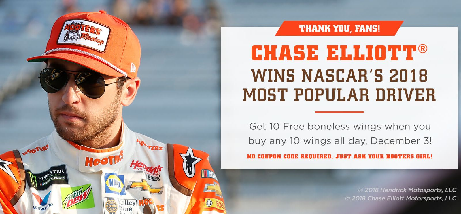 Chase Elliott Winning NASCAR's Most Popular Driver Means Free Wings at Hooters on Monday