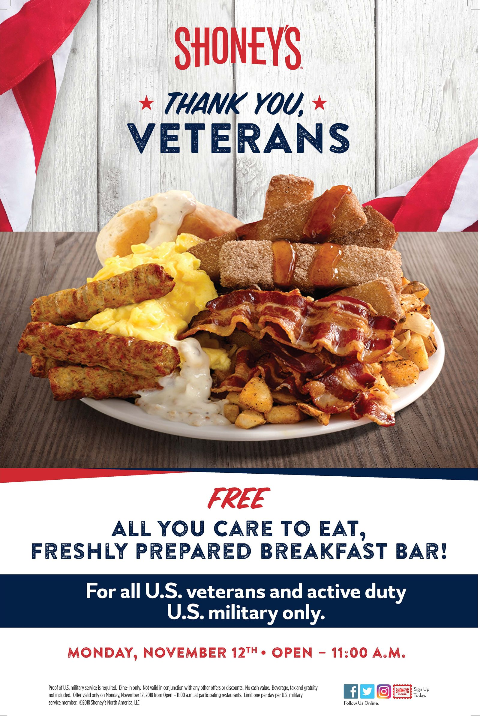 Shoney's Offers FREE All You Care To Eat, Freshly Prepared Breakfast Bar for Veterans and Active Duty Military When the Heroes' Holiday is Being Observed - Monday, November 12
