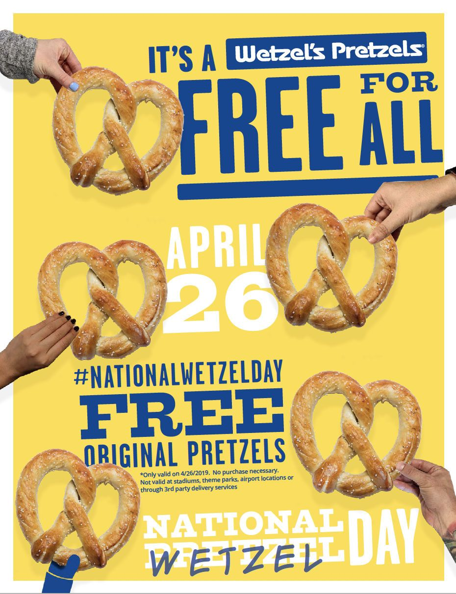 Wetzel's Pretzels Celebrates Fifth Annual National Wetzel Day with Free Pretzels for All on April 26th
