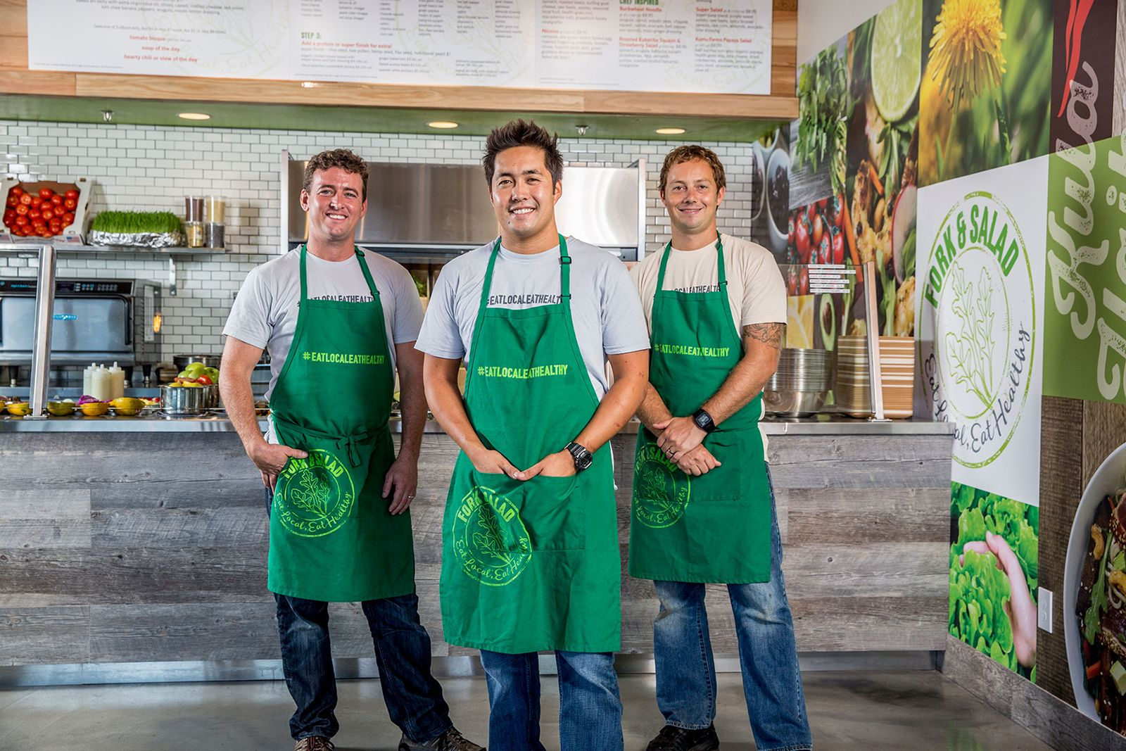 Maui-based Fork & Salad founders and chef-owners Jaron Blosser, Cody Christopher and Travis Morrin.