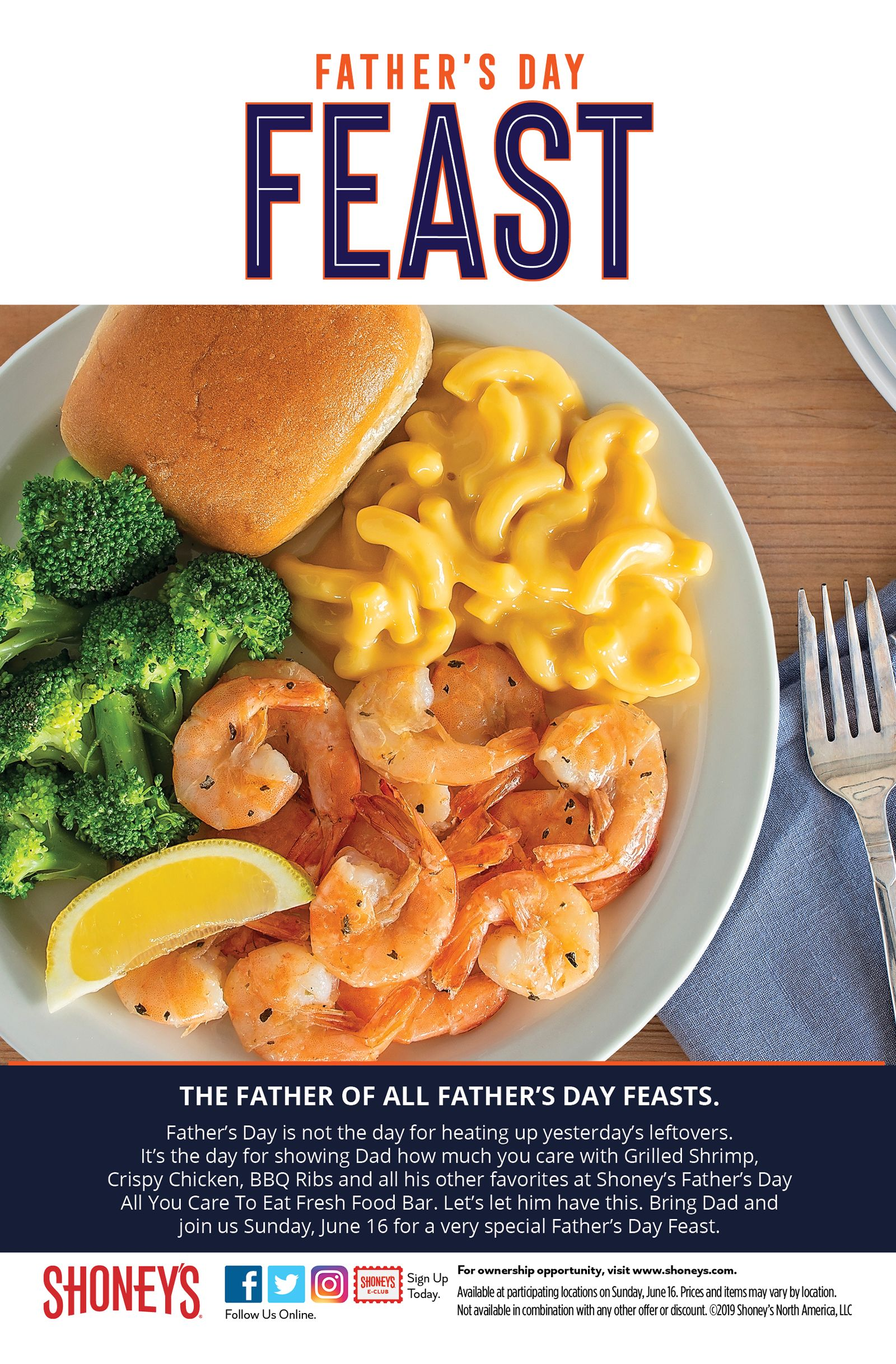 Shoney's Will Treat Dads to a Special, Enhanced All You Care to Eat, Freshly Prepared Food Bar on Father's Day, Sunday, June 16