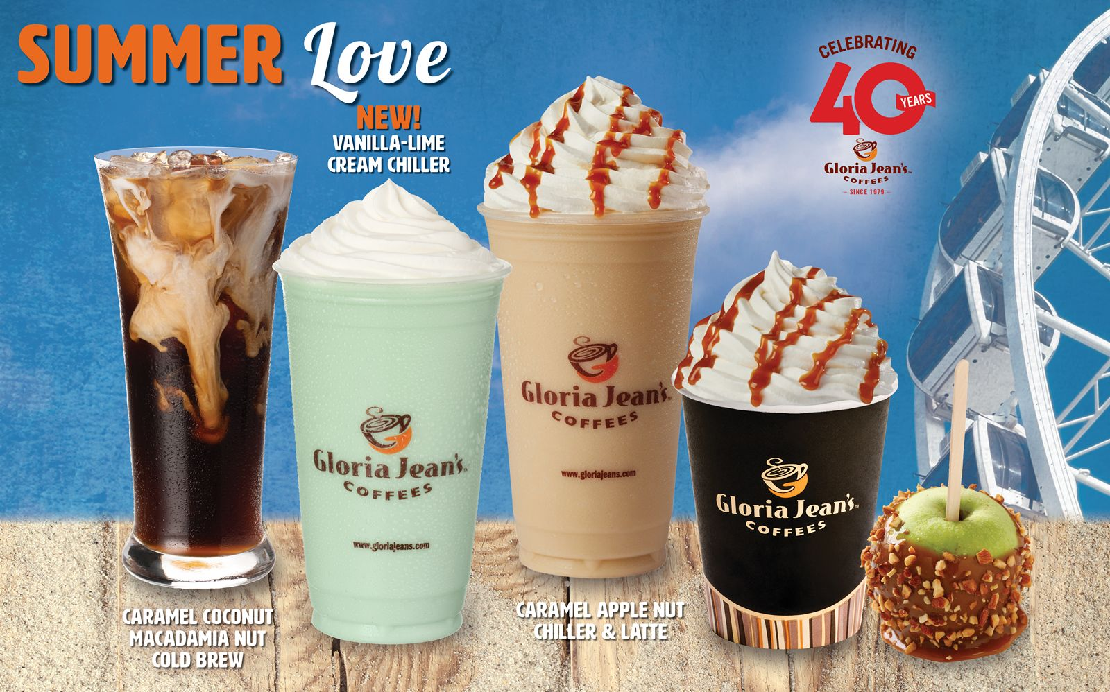 Gloria Jean's Coffees Summer Seasonal NEW! Vanilla-Lime Cream Chiller, Caramel Apple Nut Chiller & Latte and Caramel Macadamia Nut Cold Brew