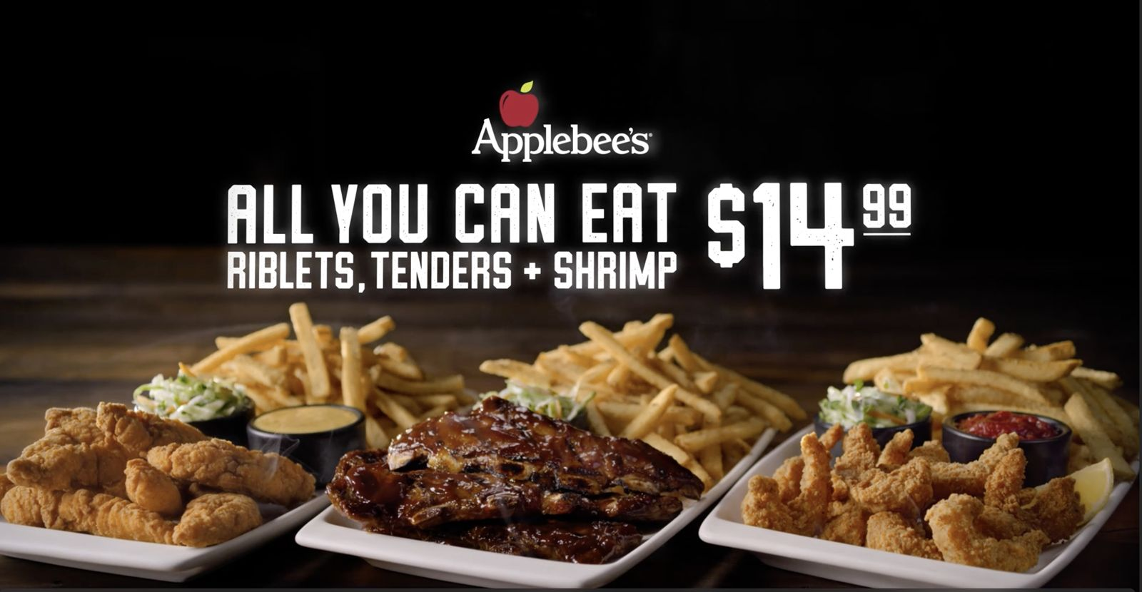 All You Can Eat Riblets, Chicken Tenders & Shrimp Is Back at Applebee's by Popular Demand