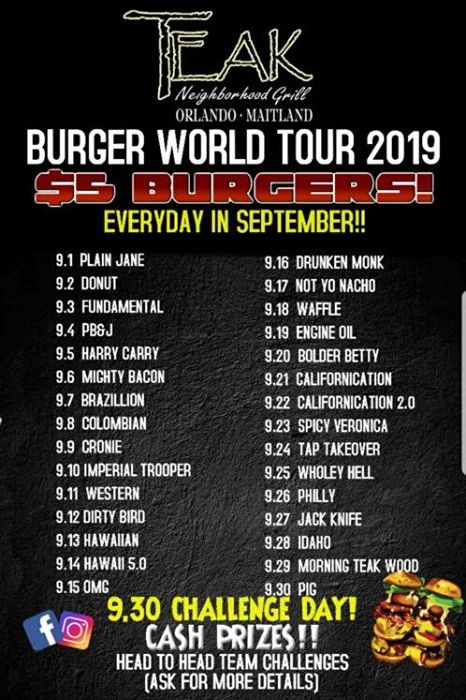 "Teak Neighborhood Grill Serves Up $5 Burgers All Month Long For Teak's Inaugural ""Burger World Tour"""