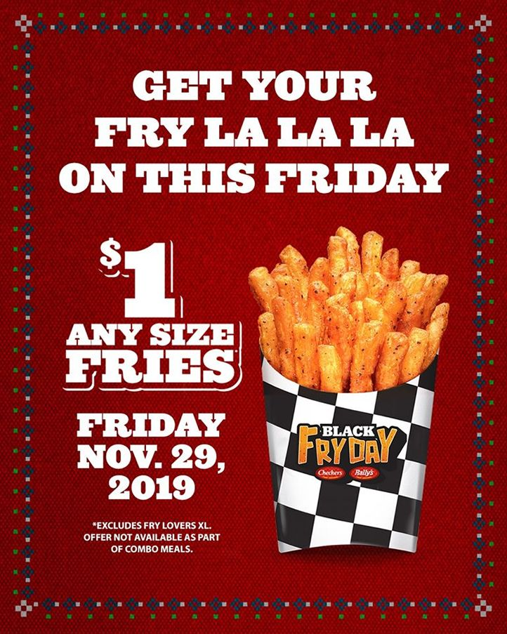 Checkers & Rally's Celebrates 'Black FRYDay' with $1 Fries Starting at Midnight on Friday, November 29