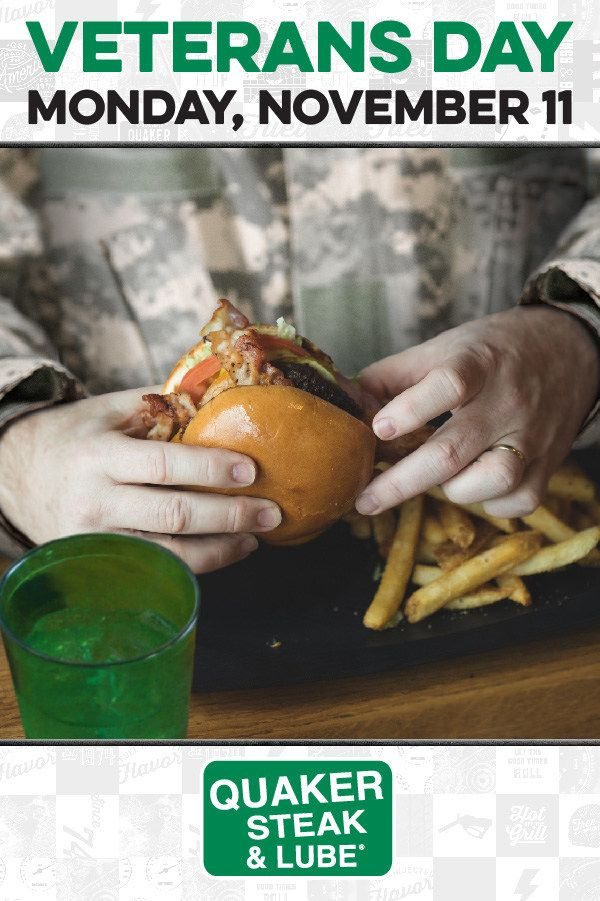 Veterans and Active-Duty Military Offered Free Meal at Quaker Steak & Lube Restaurants on Veterans Day