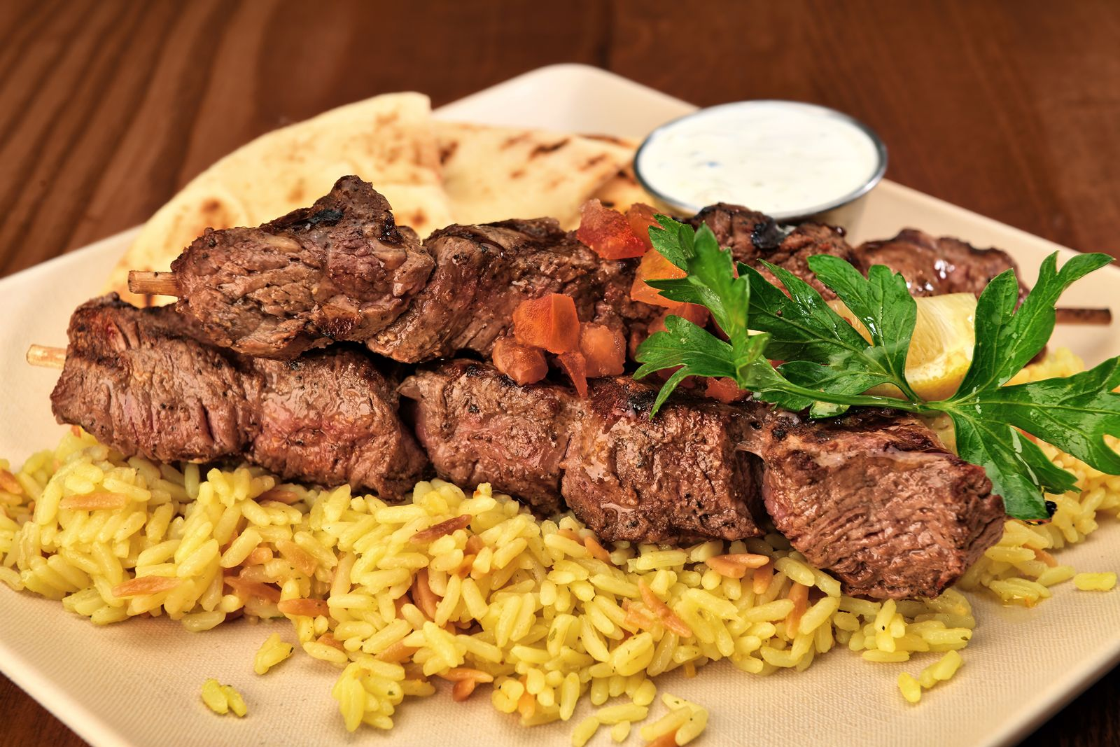 The Great Greek Mediterranean Grill Grilled Steak Souvlaki