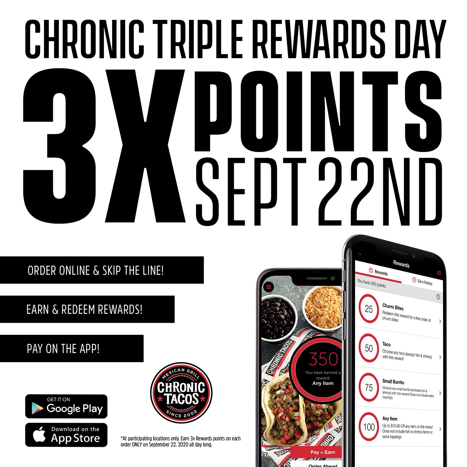 Chronic Tacos Celebrates Triple Rewards Day on September 22