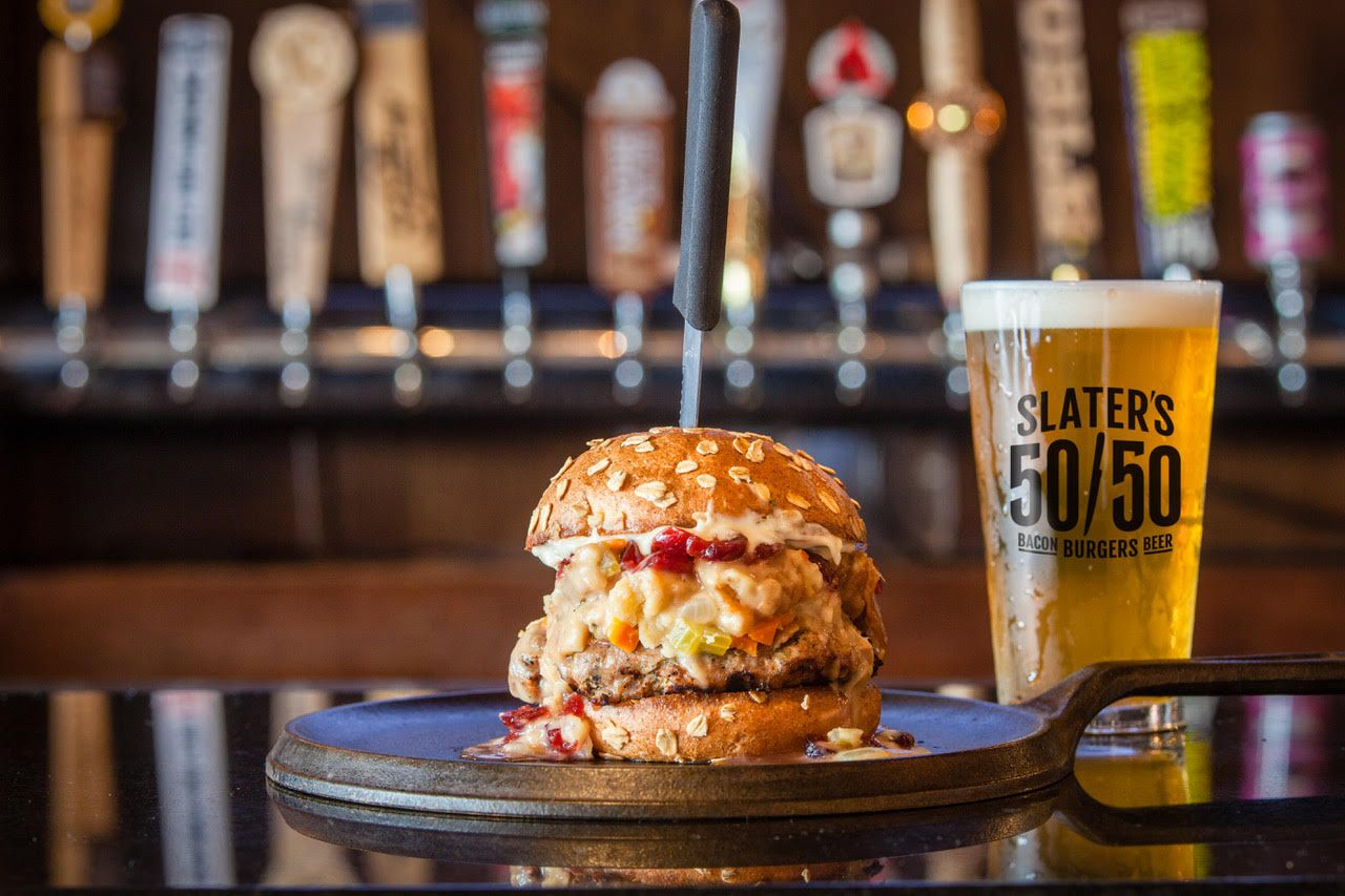 Slater's 50/50 reintroduces fan-favorite Thanksgiving Burger and the new Pumpkin Pie Milkshake all November long at participating restaurants.
