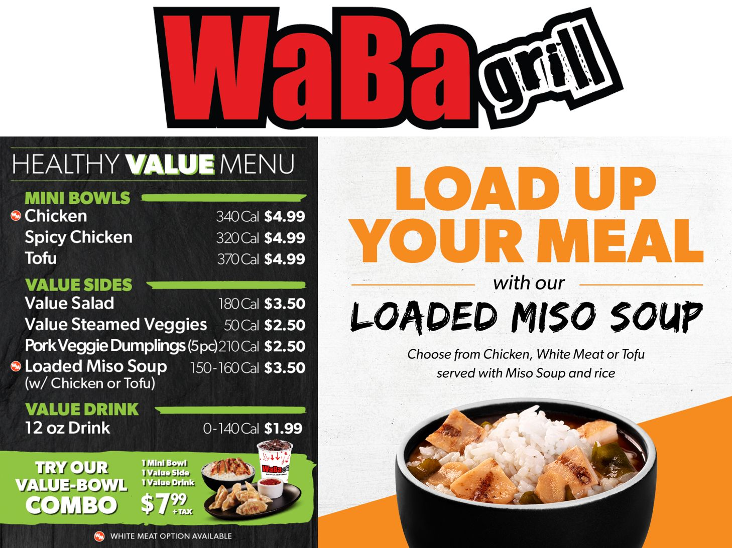 WaBa Grill's Healthy Value Menu and Loaded Miso Soup