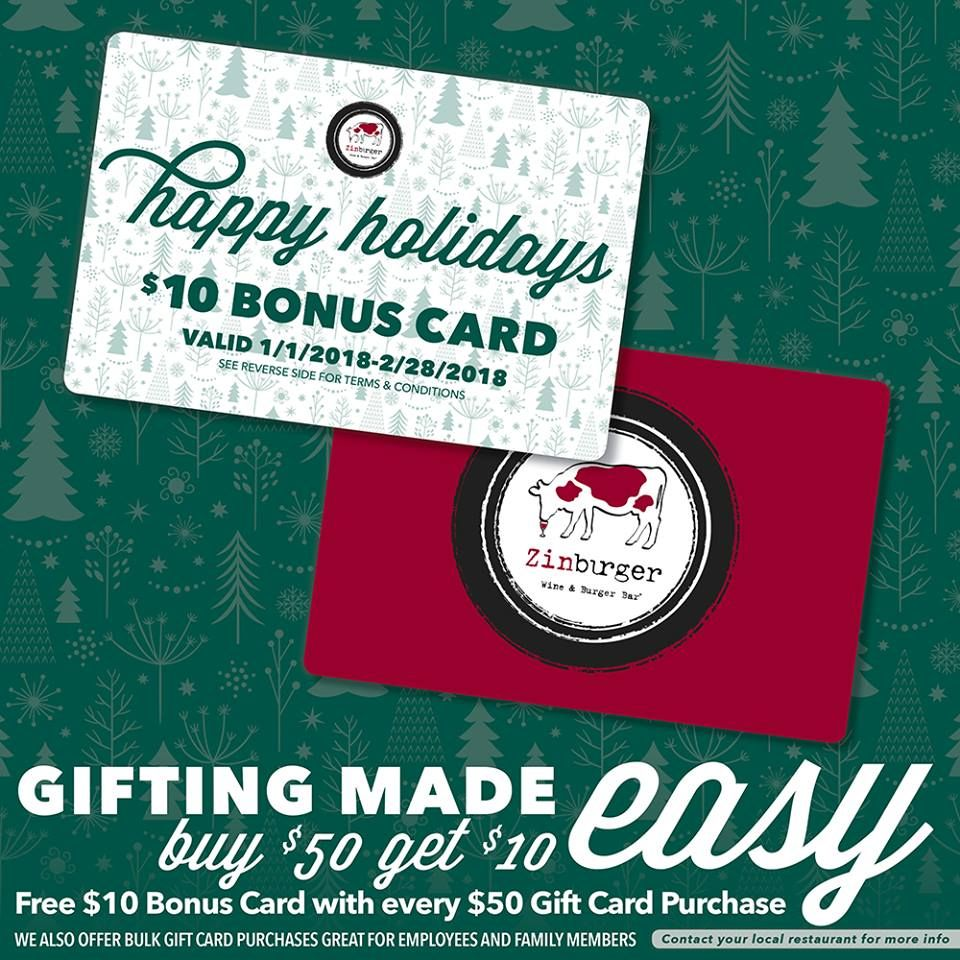 in and out burger gift card zinburger wine burger bar holiday gift card promotion 3248